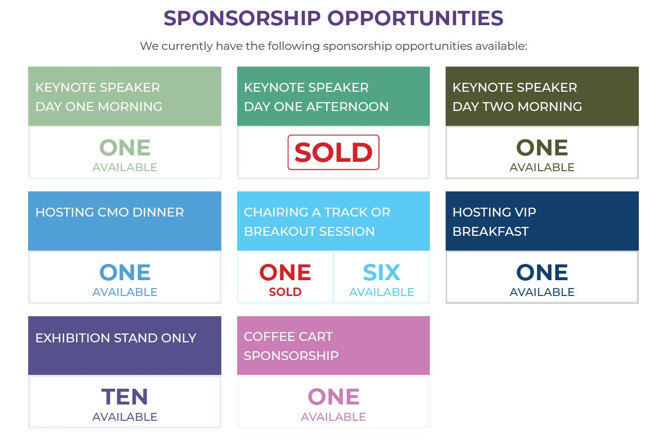 sponsorship options at b2b ;marketing conference melbourne 2021